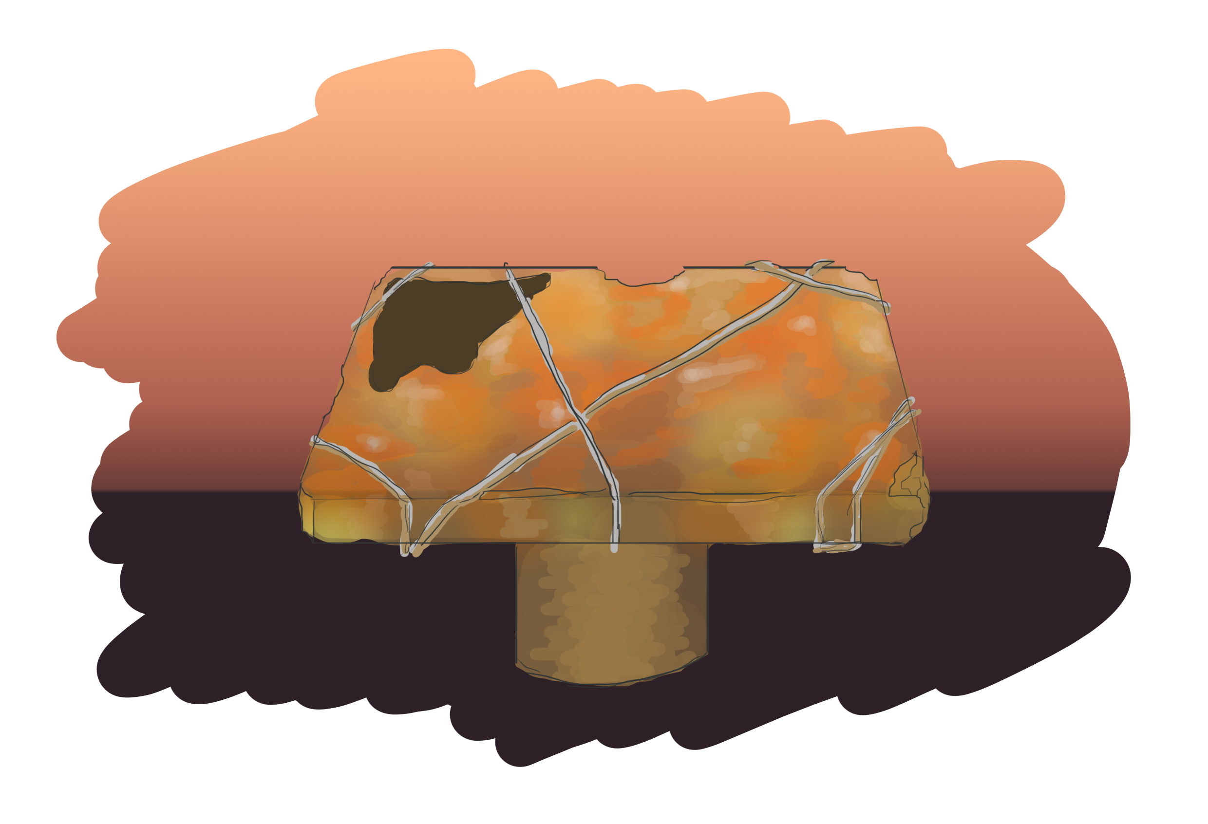 Stone concept for the mapholder - Aporia: Beyond the Valley